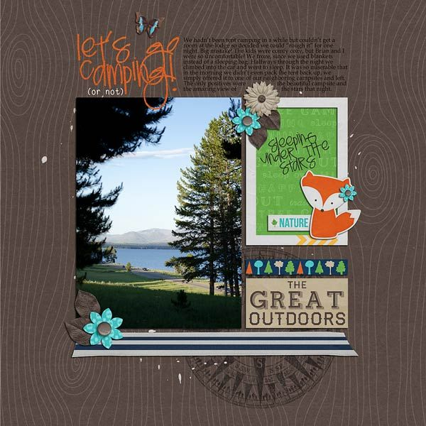 """Let's Go Camping by Annette Pixley using @L a Belle Vie Designs """"Into the Woods"""""""