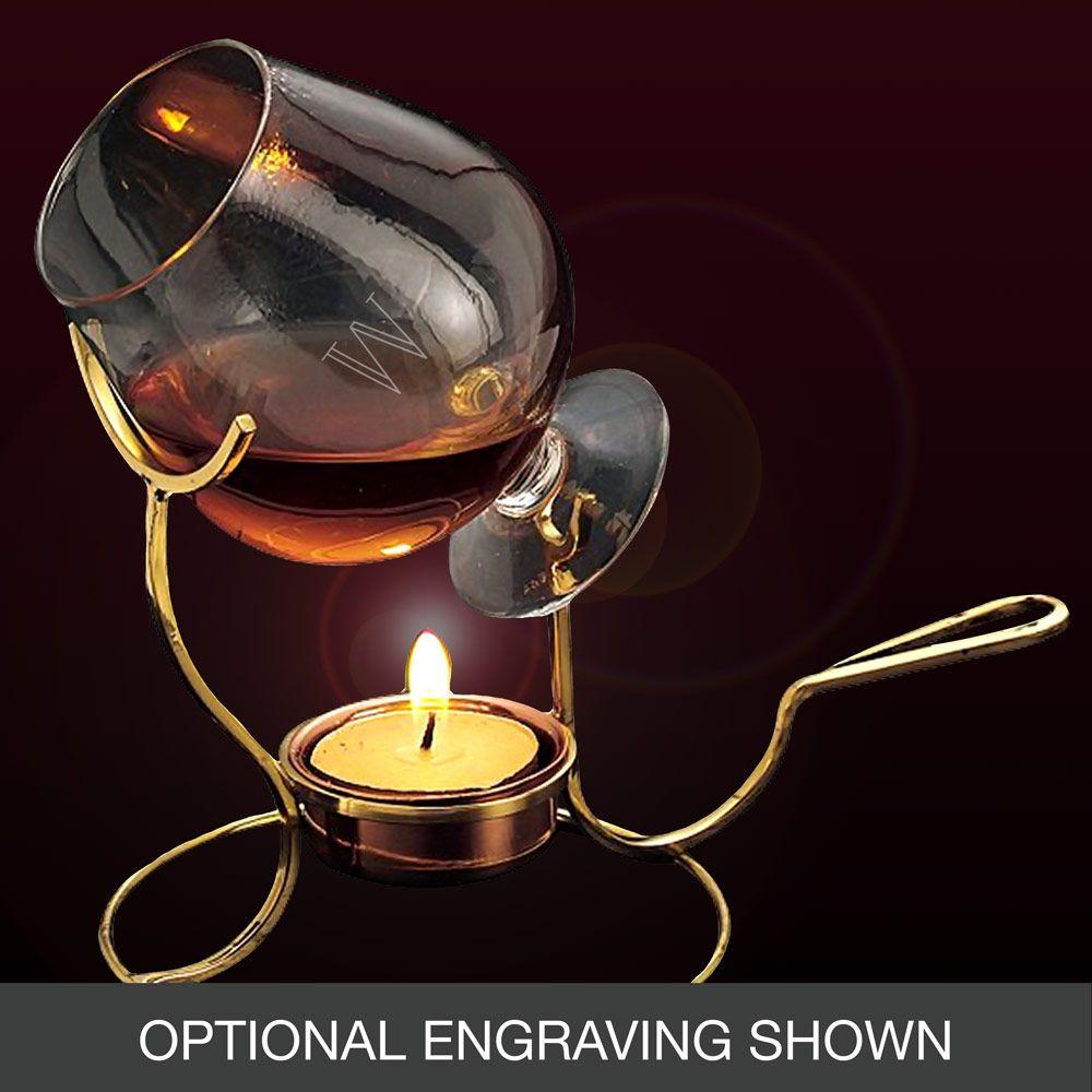 Brandy Snifter and Warmer Set, Engravable Brandy, Winter