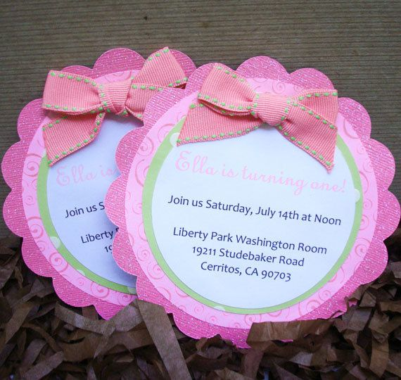 Handmade Pink And White Invitation With Ribbon For Little Girl St - Handmade birthday invitation card ideas