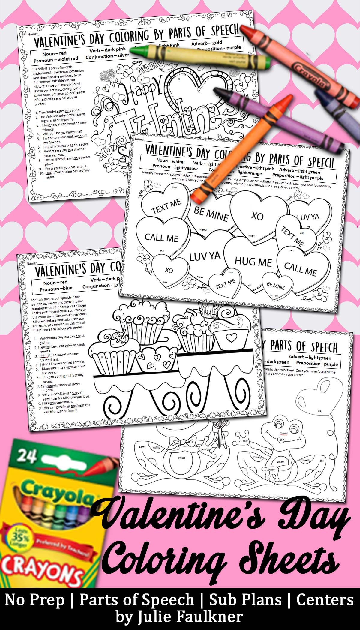 Valentine\'s Day Grammar, No Prep Coloring for Teens | English ...