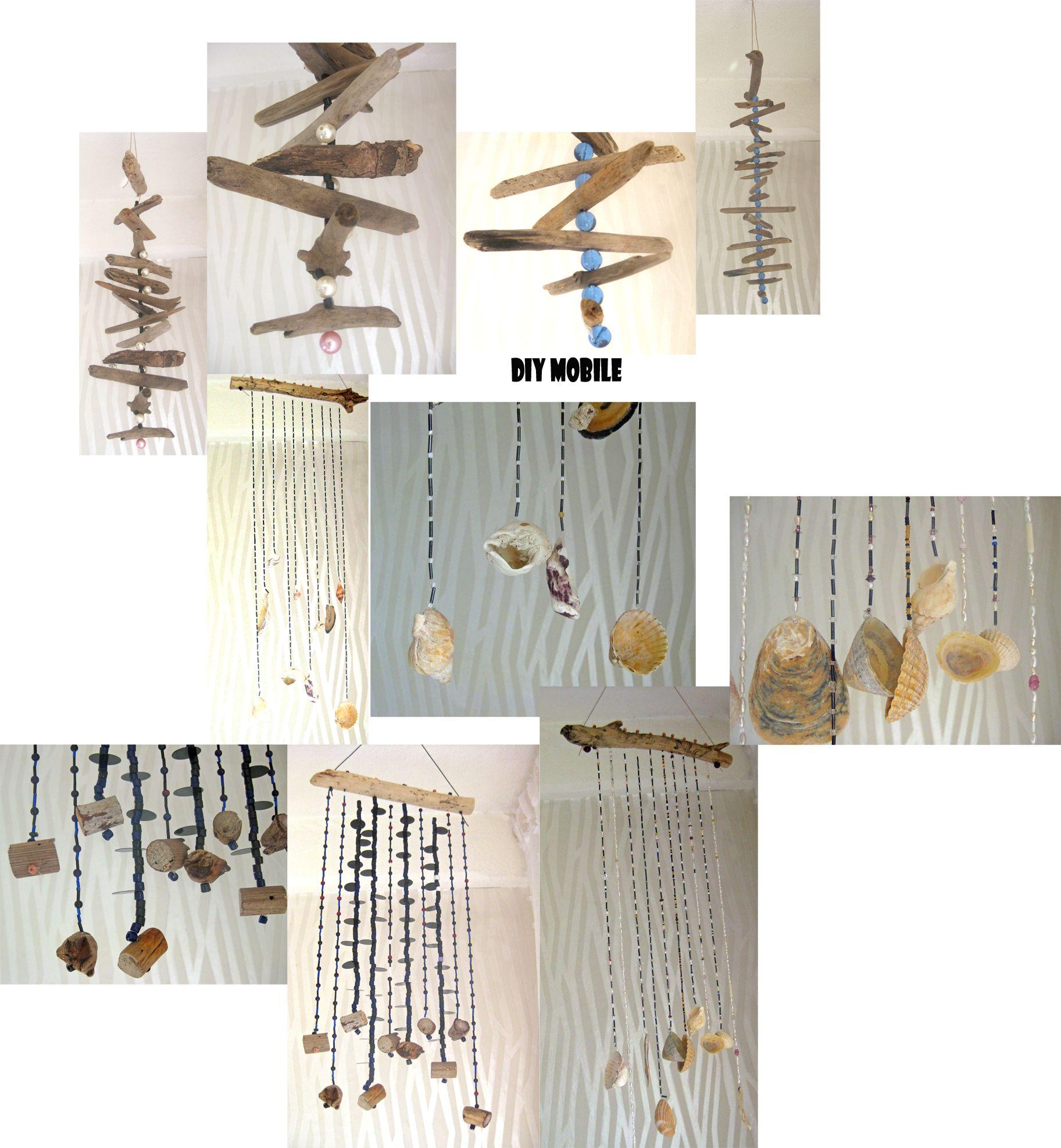 diy verschiedene mobiles aus perlen, treibholz und muscheln