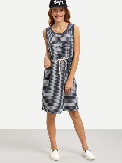 Shop Navy White Striped Drawstring Waist Tank Dress online. SheIn offers Navy White Striped Drawstring Waist Tank Dress & more to fit your fashionable needs.