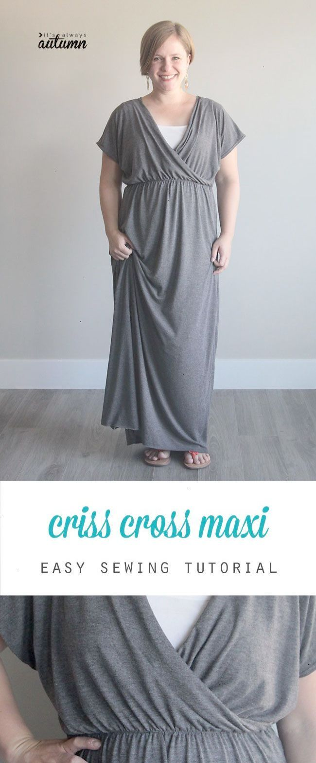 Cute diy criss cross maxi dress sewing tutorial post shows how to