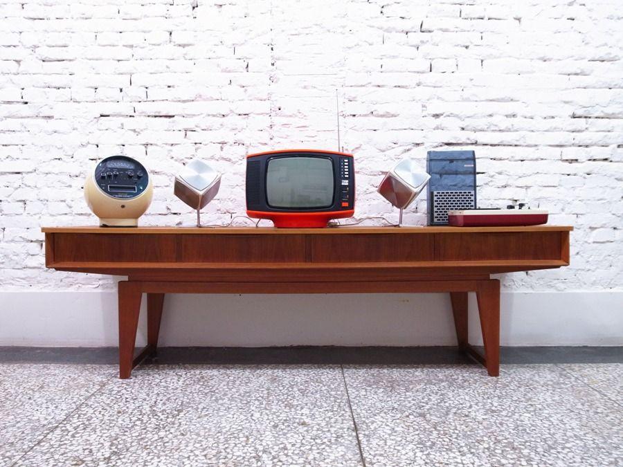 1950s Danish Teak TV Cabinet   Designer: Unknown   Manufactured In Denmark