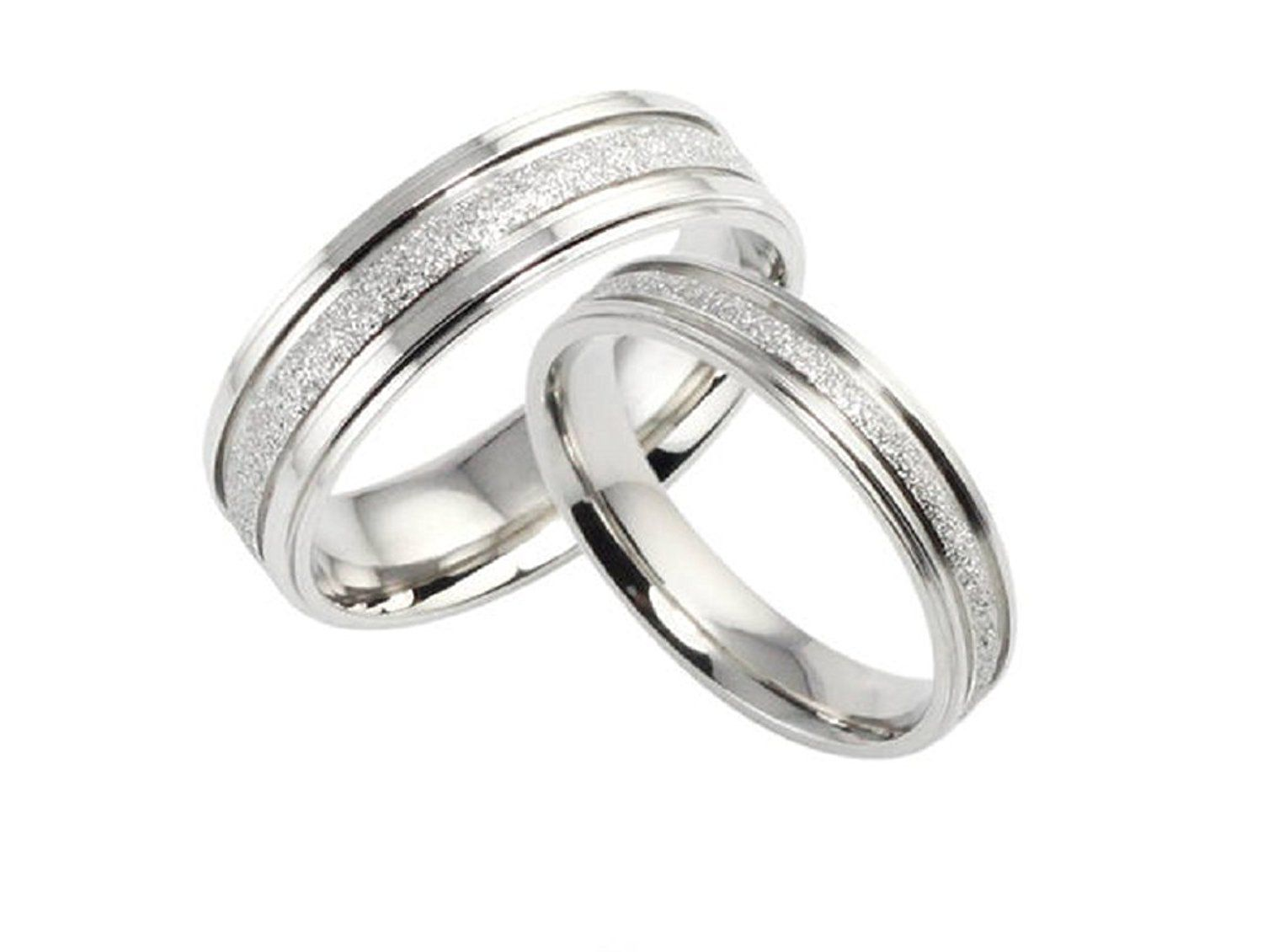 His and Hers Matching Set Titanium Steel Wedding Bands ...