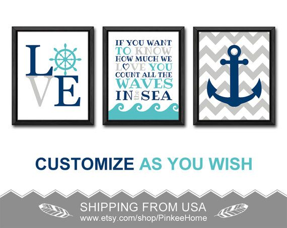 nautical kids wall decor if you want to know nautical quote nautical kids decor nautical love wheel anchor count the waves nautical nursery by PinkeeHome on Etsy