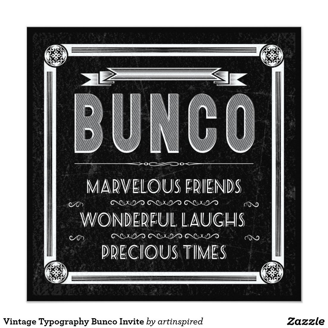 Vintage Typography Bunco Invite Bunco party Vintage typography