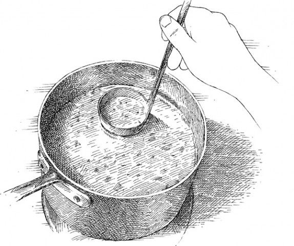 Drip-Free Ladling. Here's an easy way to keep drips and spills to a minimum when ladling soups or stews. Before lifting the filled ladle up and out of the pot, dip the bottom back into the pot, so the liquid comes about halfway up the ladle. The tension on the surface of the soup grabs any drips and pulls them back into the pot.