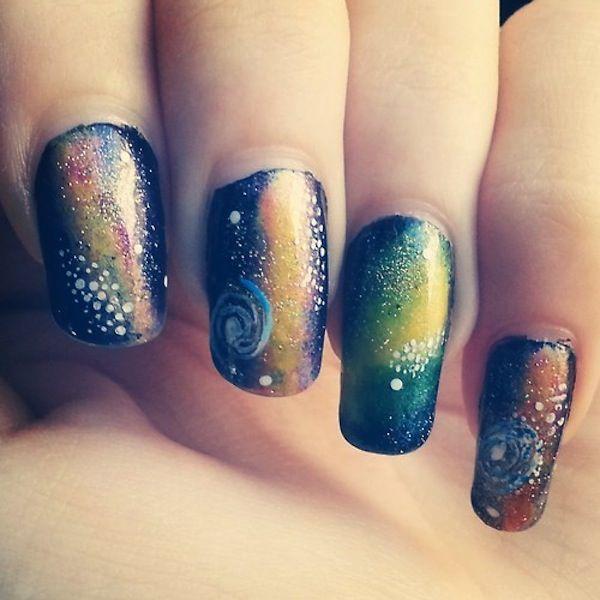Galaxy Nails Green Fun Nails Pinterest Galaxy Nail Nail