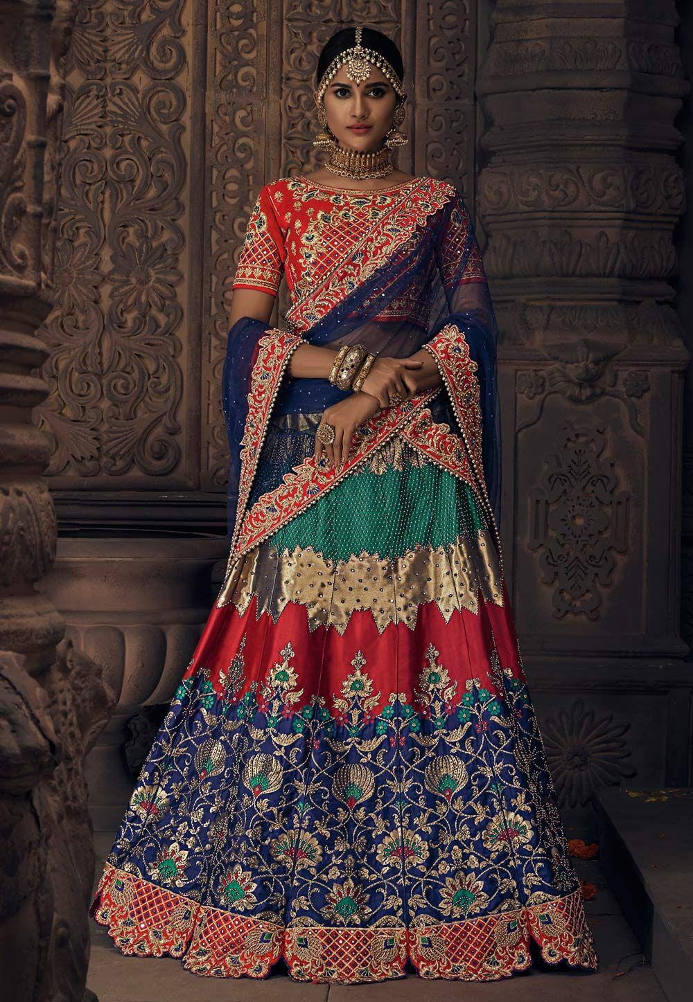 dd452198b06 Buy Navy Blue Banarasi Silk Circular Lehenga Choli 154989 online at best  price from vast collection of Lehenga Choli and Chaniya Choli at ...