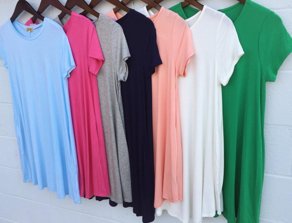 Starting the morning off with some of our favorite comfy t-shirt dresses! Y'all come try these for yourself in both stores! #tshirtdress #comfydress #boutique #shopPD