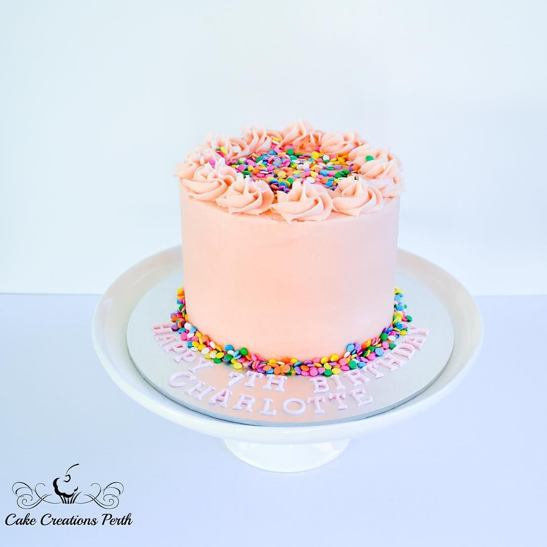 Pretty Pink Buttercream And Sprinkles Cake Round Birthday Cakes