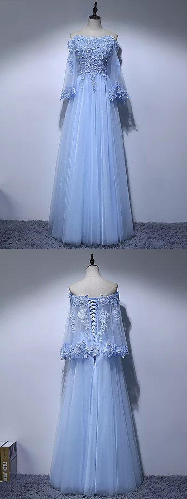 Aline offtheshoulder floorlength long sleeve tulle prom dress