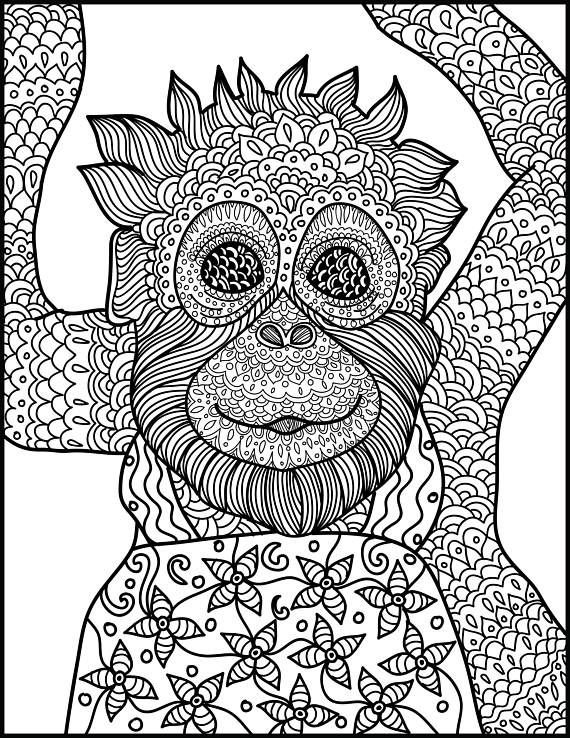Animal Coloring Page Monkey Printable Adult Coloring Page Monkey