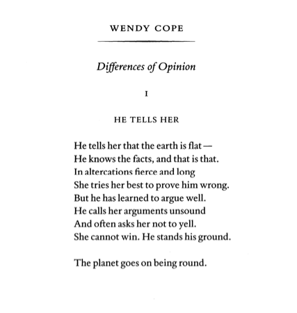 Differences Of Opinion By Wendy Cope Wendy Cope Wendy Cope Poems Opinion Quotes