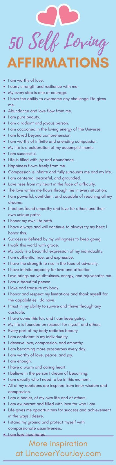 50 affirmations for self-love. Inspiring resources, quotes, and more for happiness and joy at