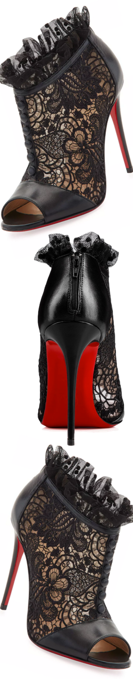 cd4436fc82f6 Christian Louboutin Henrietta Lace Peep-Toe Red Sole Bootie