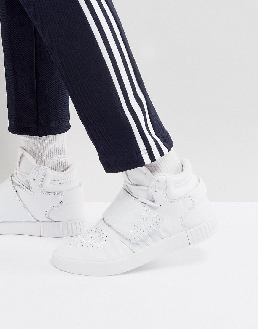 ADIDAS ORIGINALS TUBULAR INVADER STRAP SNEAKERS IN WHITE