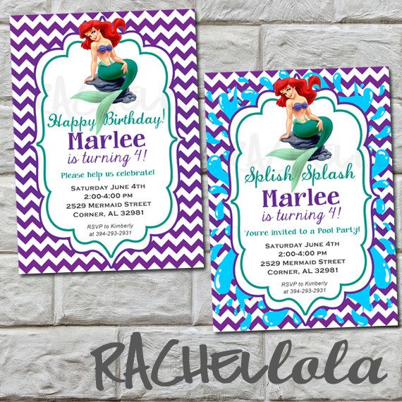The little mermaid pool party birthday invitation do it yourself the little mermaid pool party birthday invitation do it yourself solutioingenieria Image collections