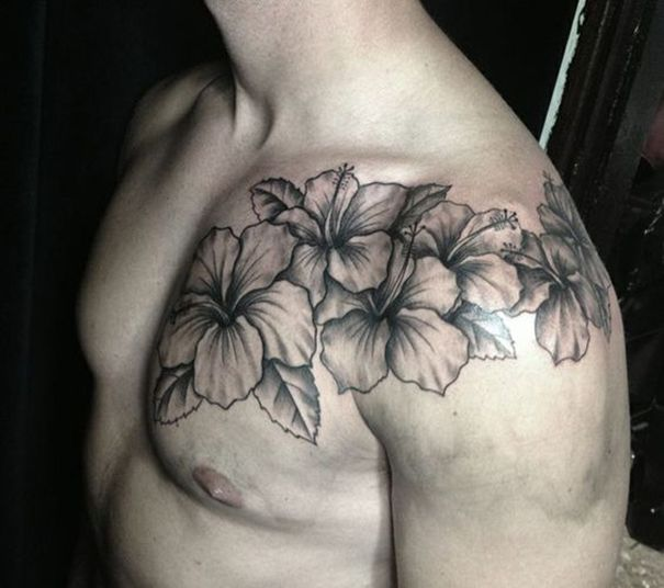 Men Flower Tattoo On Shoulder With Images Hibiscus Tattoo