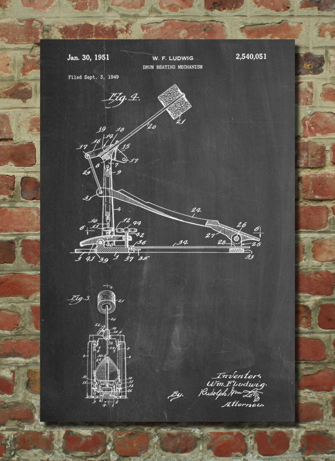 Drum kick pedal patent art print patent art blueprint patent drum kick pedal patent art print patent art blueprint patent print patentprints malvernweather Image collections