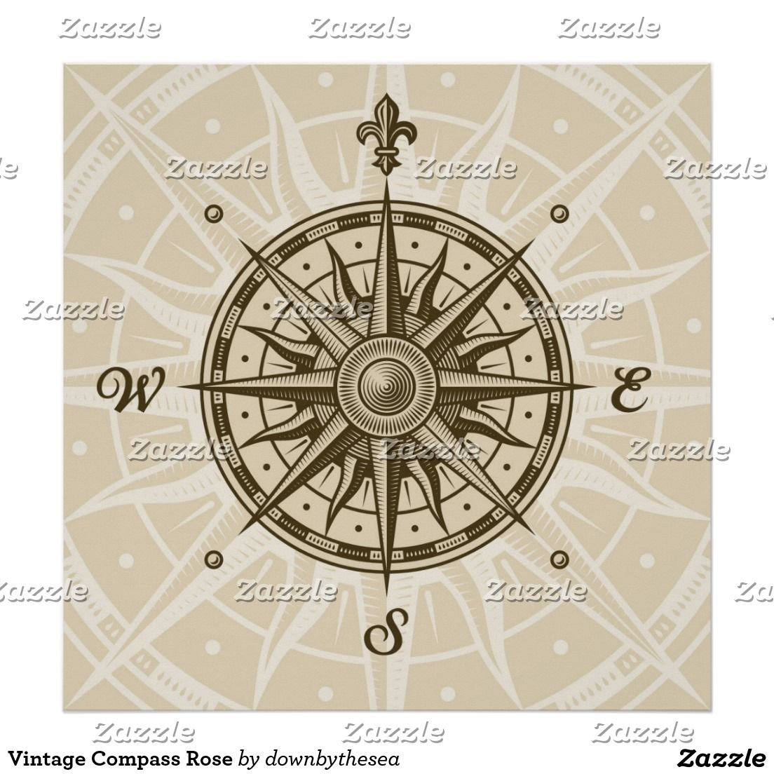 Vintage Compass Rose Poster Zazzle Com In 2020 Compass Rose Tattoo Vintage Compass Tattoo Vintage Compass