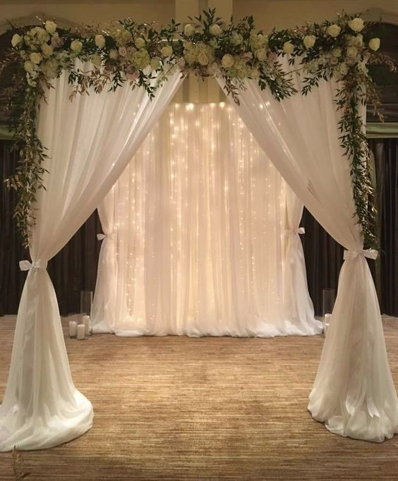 Wedding Decoration Ideas For Church Ceremony: White Indoor Wedding Ceremony