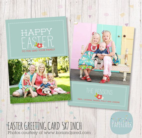 Easter Photo Card template - Photoshop files AE006 by - easter greeting card template