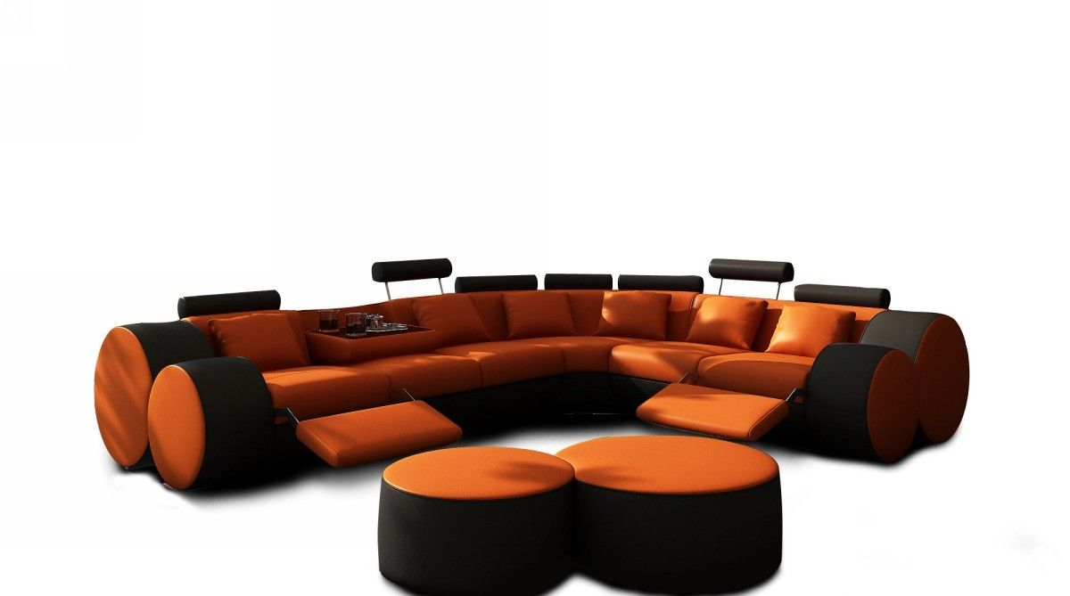 3087 modern orange and black leather sectional sofa and coffee