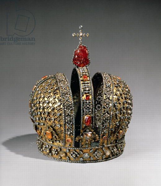 Crown of the Empress Anna Ioannovna, St. Petersburg, 1730 (silver, gold,  precious stones)