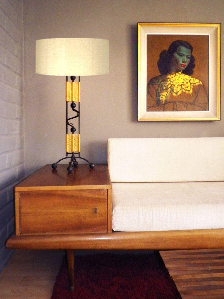 Set of 2 TIKI Vintage 50s Mid Century Modern Sofa Table Lamp Wicker