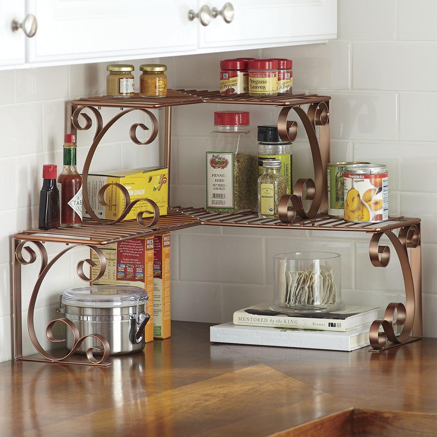 Storage Organization Add Functional Space And Great Looks To An Unused Corner Wire With C Kitchen Counter Decor Diy Kitchen Storage Kitchen Design Small