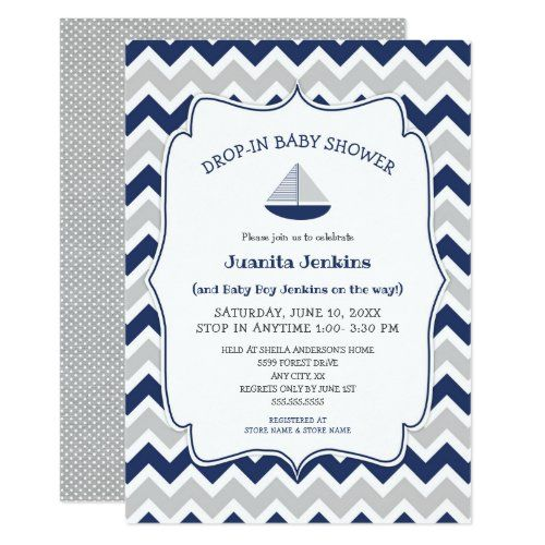 Drop In Sailboat Boy Baby Shower Invitation Drop I