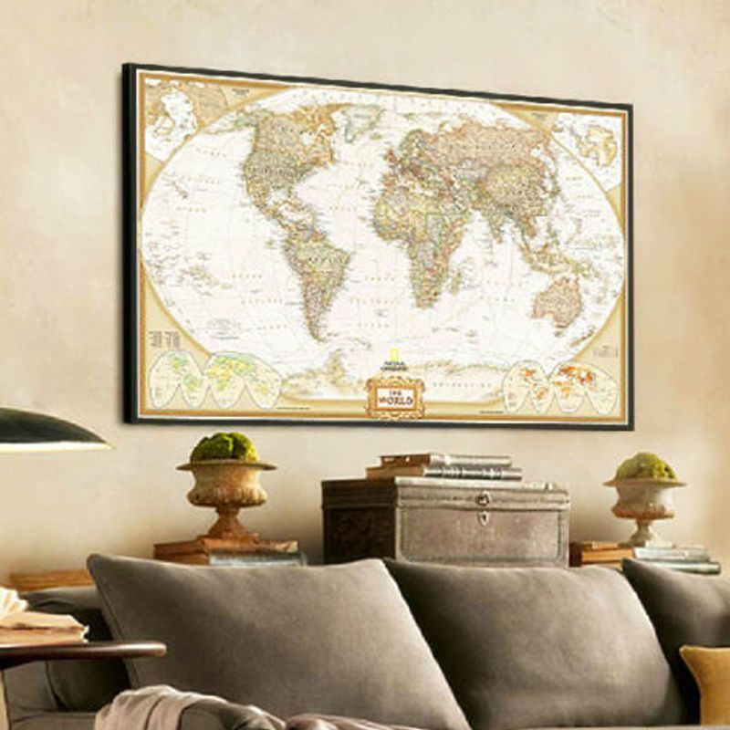 World Map Poster Vintage Antique Wall Chart Paper Decor Flags Geography 72*48cm  #HomeDecor