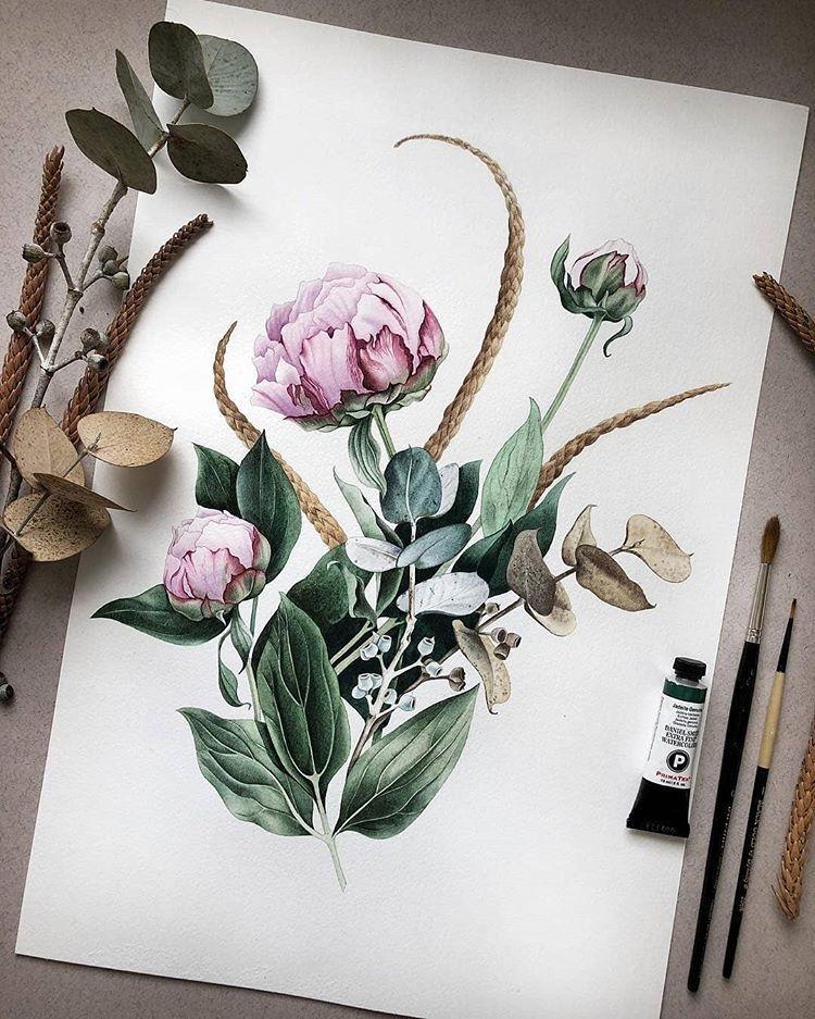 Artist Nunu Artroom Illustrationow If You Would Like To Be Featured Acuarela Pintura Acuarela Flores Japonesas