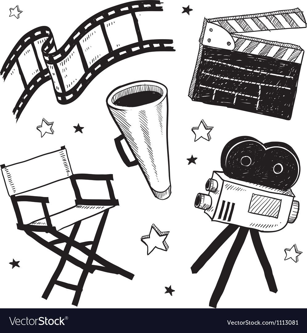 Doodle Movie Film Camera Director Chair Clapper Vector Image Camera Drawing Camera Illustration Camera Doodle