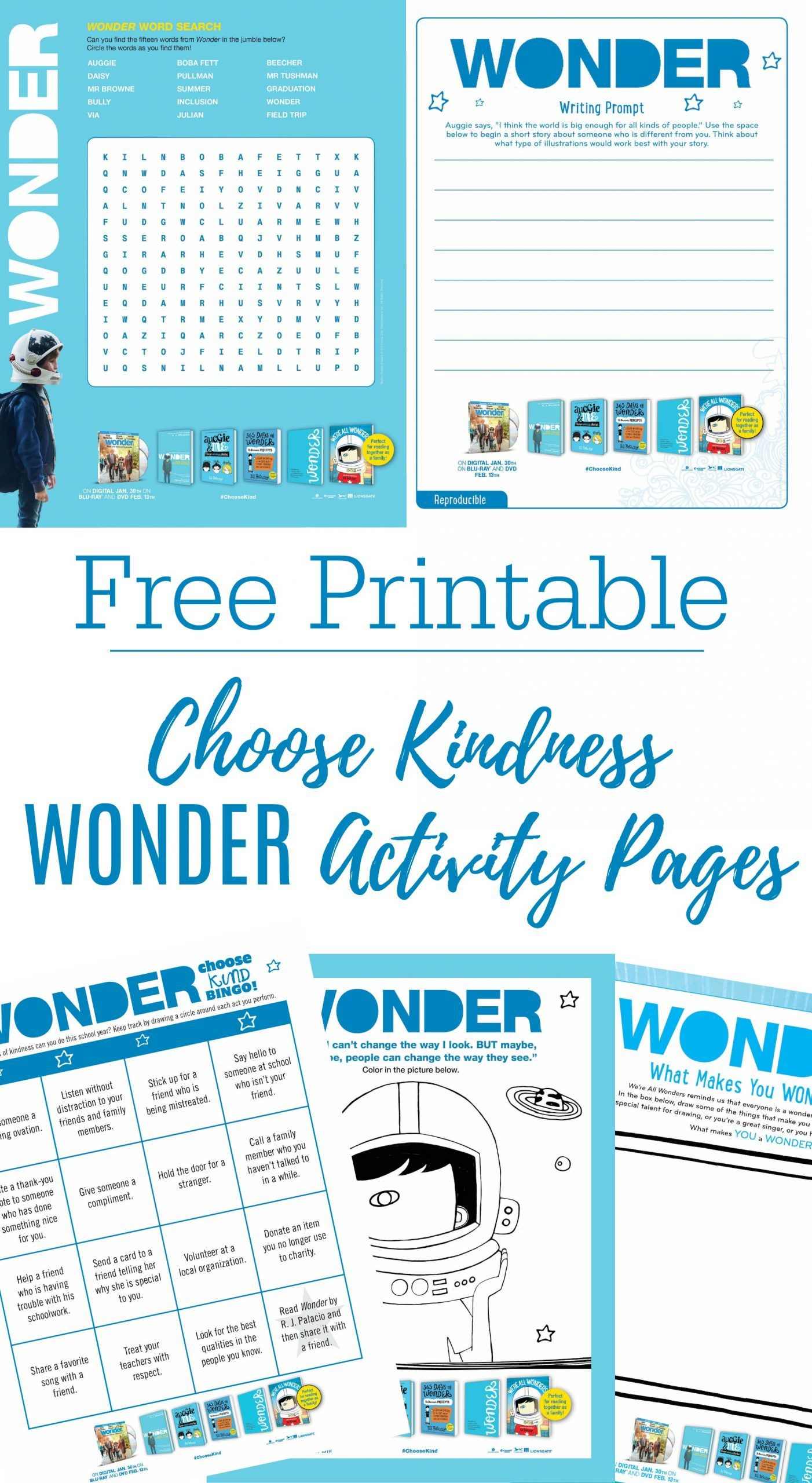 Printable Wonder Activity Sheets Bluray Giveaway