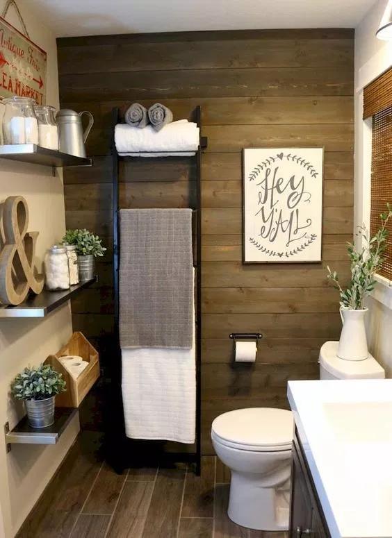 41 Cool Half Bathroom Ideas And Designs You Should See In 2020 Farmhouse Bathroom Decor Farmhouse Bathroom Accessories Bathroom Decor
