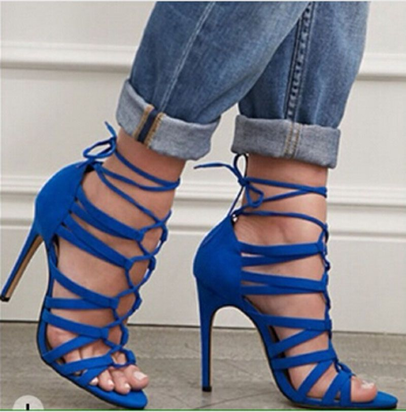 royal-blue-suede-leather-cut-out-strappy-high-heel-sandals-lace-up ...