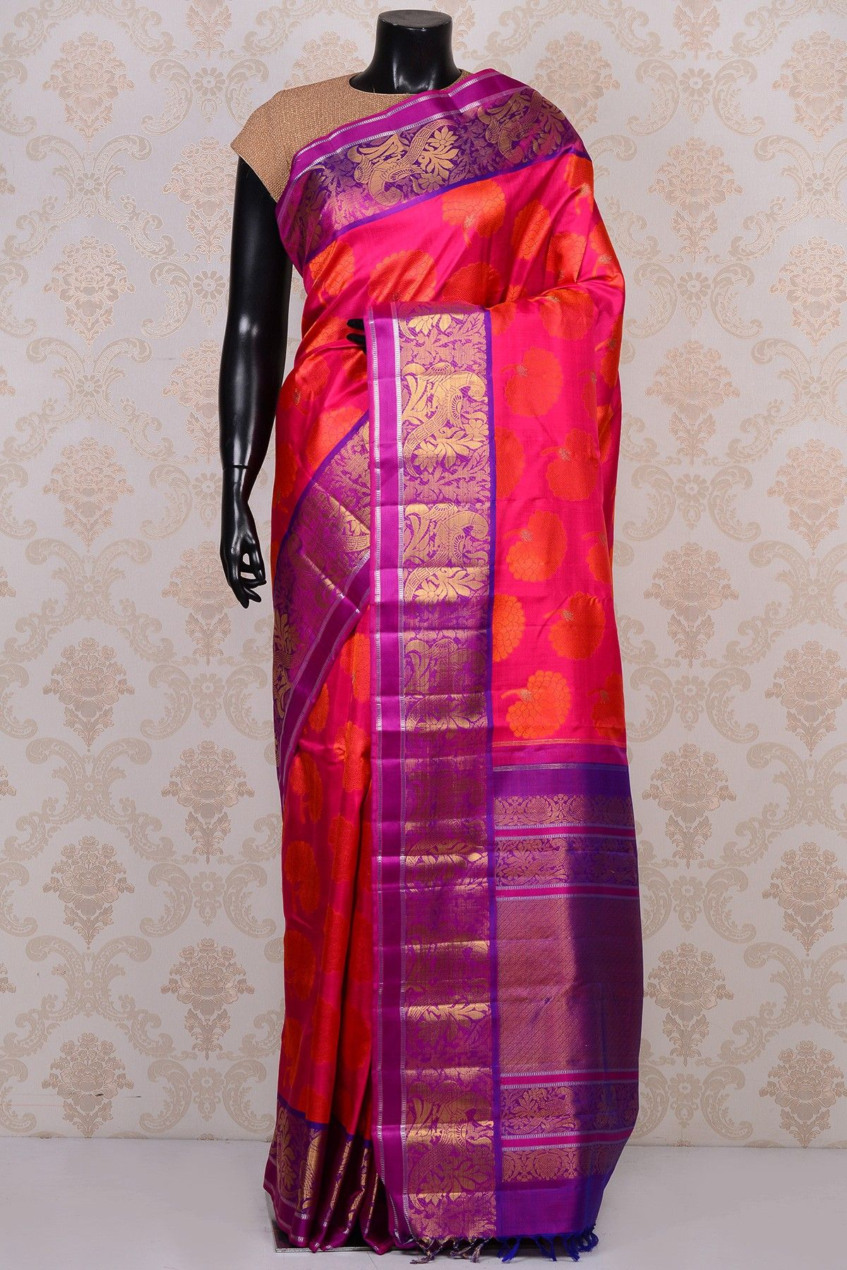 9a7d765a1b7453 #Pink gorgeous #kanchipuram silk #saree with purple border-SR18700- #PURE  KANCHIPURAM SILK SAREE