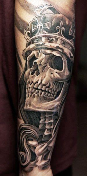 Skull King Tattoo By Jun Cha Skull Tattoo Design Crown Tattoo Men Skull Tattoo
