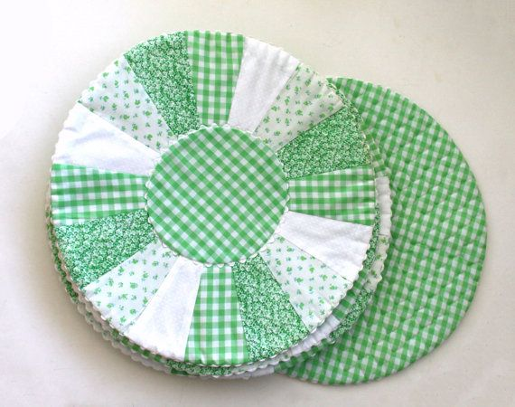 Green Gingham Placemats Quilted Placemats Round Placemats