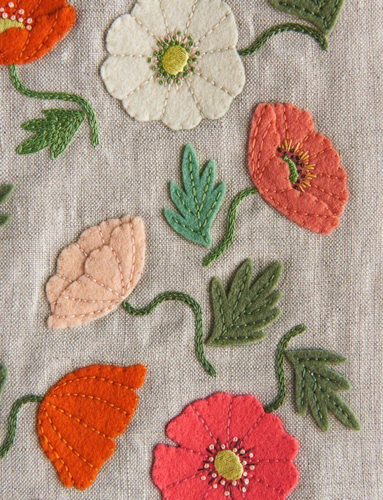 Poppy Garden Embroidery Pattern + Transfers, Complete #embroidery