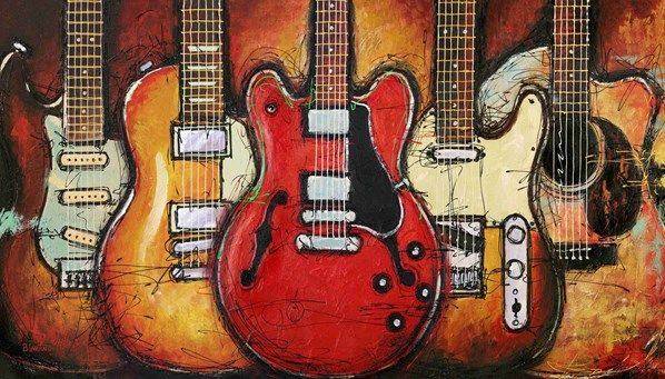GUITAR COLLAGE -- Bruce Langton, for the Man Cave