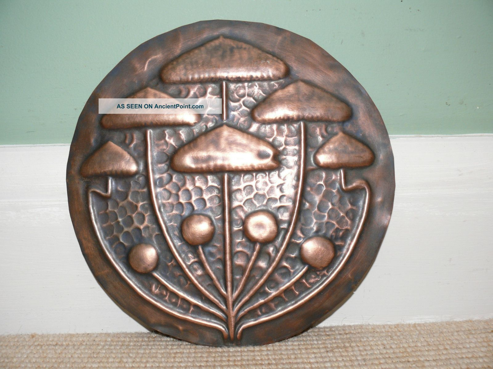 19thc Arts & Crafts Copper Charger With Stylised Toadstool Design Metalware photo