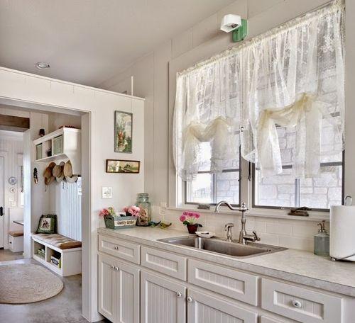 cocina-con-muebles-blancos detalles Pinterest Muebles blancos - cortinas para cocina modernas