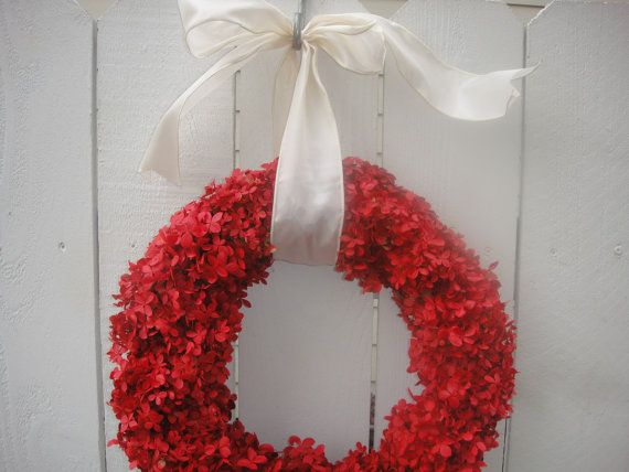 Valentine Wreath    Red Hydrangea Wreath   Elegant by donnahubbard, $60.00