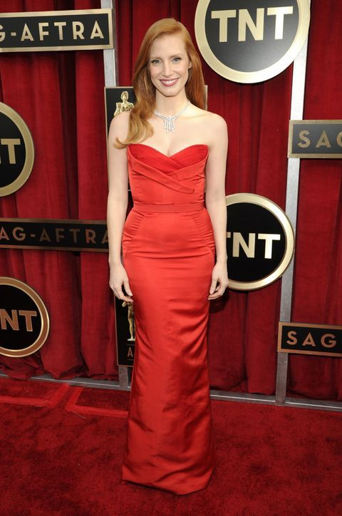 Love Jessica Chastain's red hair + red dress Alexander McQueen combo at the SAG Awards!