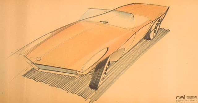 "Raymond Loewy (1893-1986) Preliminary studies for Studebaker  ""Avanti"" automobile. Fluid on Paper."