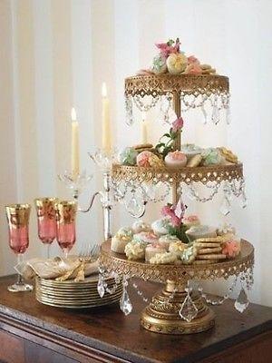 Opulent Treasures Antiqued Gold 3 Tier Crystal Cupcake Dessert Stand WEDDING